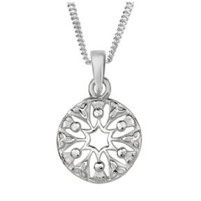 Scottish Thistle Trinity Knots Silver Round Pendant 9081